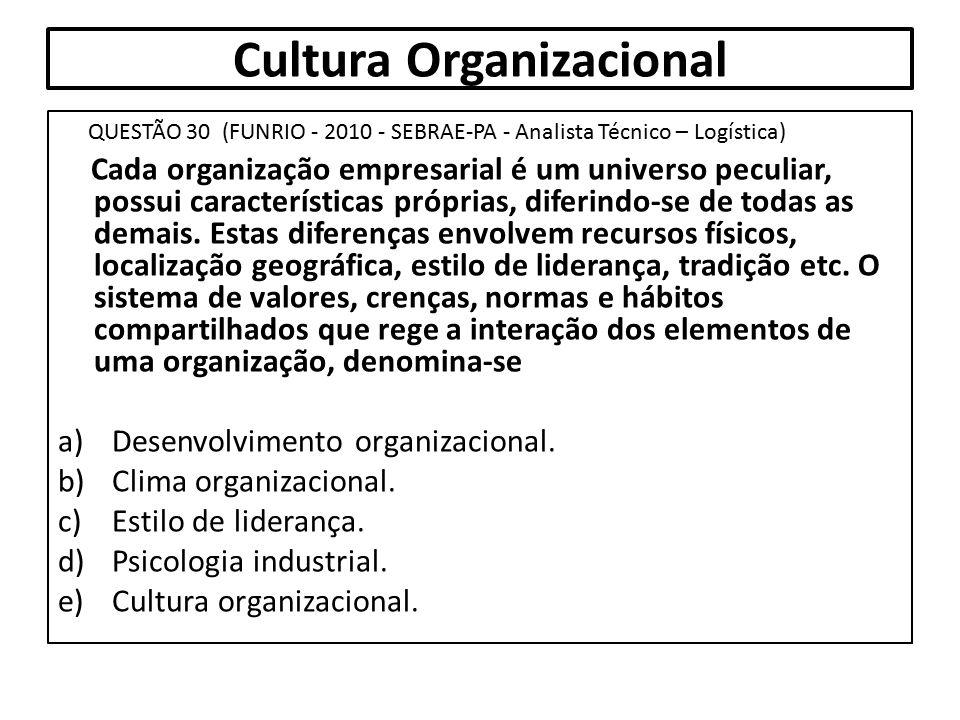 Cultura Organizacional QUESTÃO 30 (FUNRIO - 2010 - SEBRAE-PA - Analista Técnico – Logística) Cada organização empresarial é um universo peculiar, poss