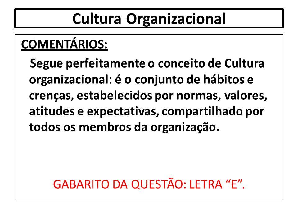 Cultura Organizacional COMENTÁRIOS: Segue perfeitamente o conceito de Cultura organizacional: é o conjunto de hábitos e crenças, estabelecidos por nor