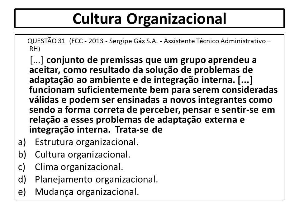 Cultura Organizacional QUESTÃO 31 (FCC - 2013 - Sergipe Gás S.A. - Assistente Técnico Administrativo – RH) [...] conjunto de premissas que um grupo ap
