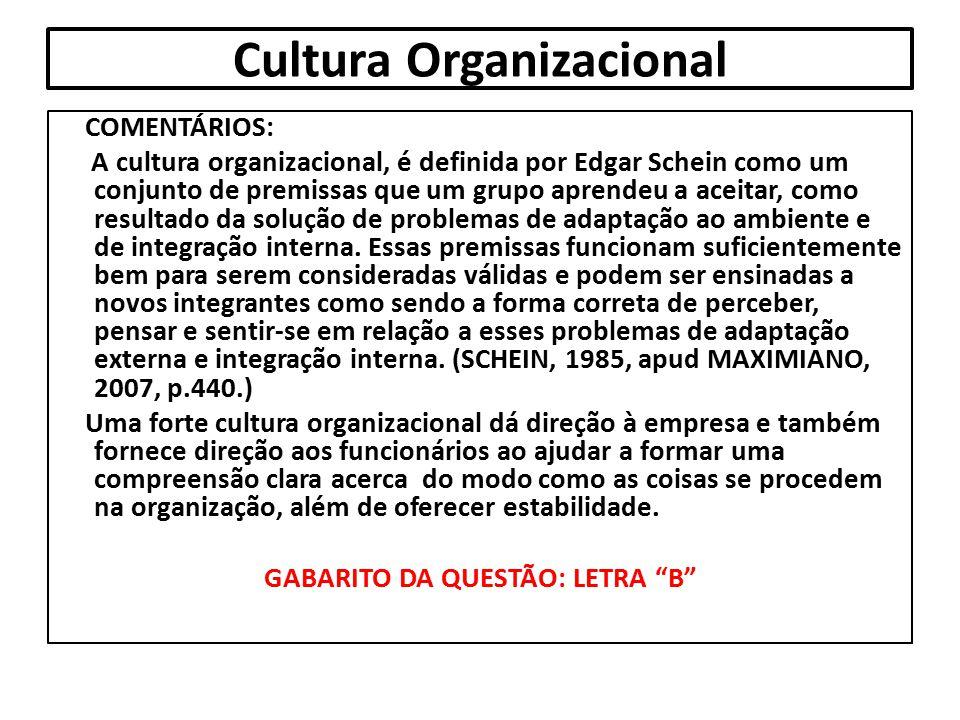 Cultura Organizacional COMENTÁRIOS: A cultura organizacional, é definida por Edgar Schein como um conjunto de premissas que um grupo aprendeu a aceita