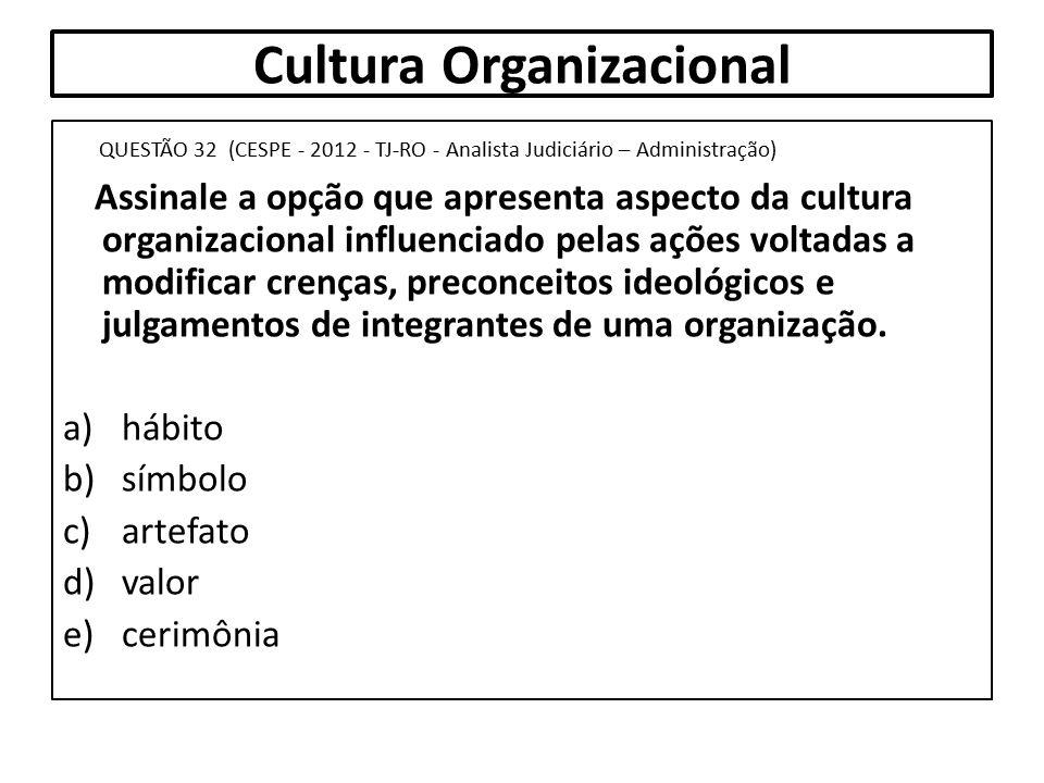 Cultura Organizacional QUESTÃO 32 (CESPE - 2012 - TJ-RO - Analista Judiciário – Administração) Assinale a opção que apresenta aspecto da cultura organ