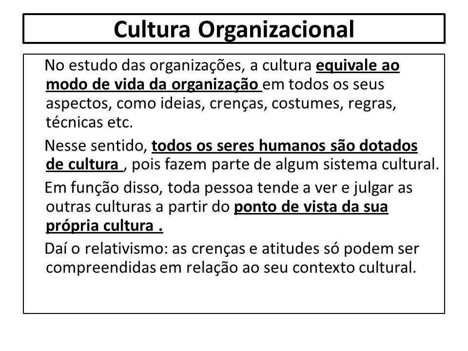 Cultura Organizacional No estudo das organizações, a cultura equivale ao modo de vida da organização em todos os seus aspectos, como ideias, crenças,