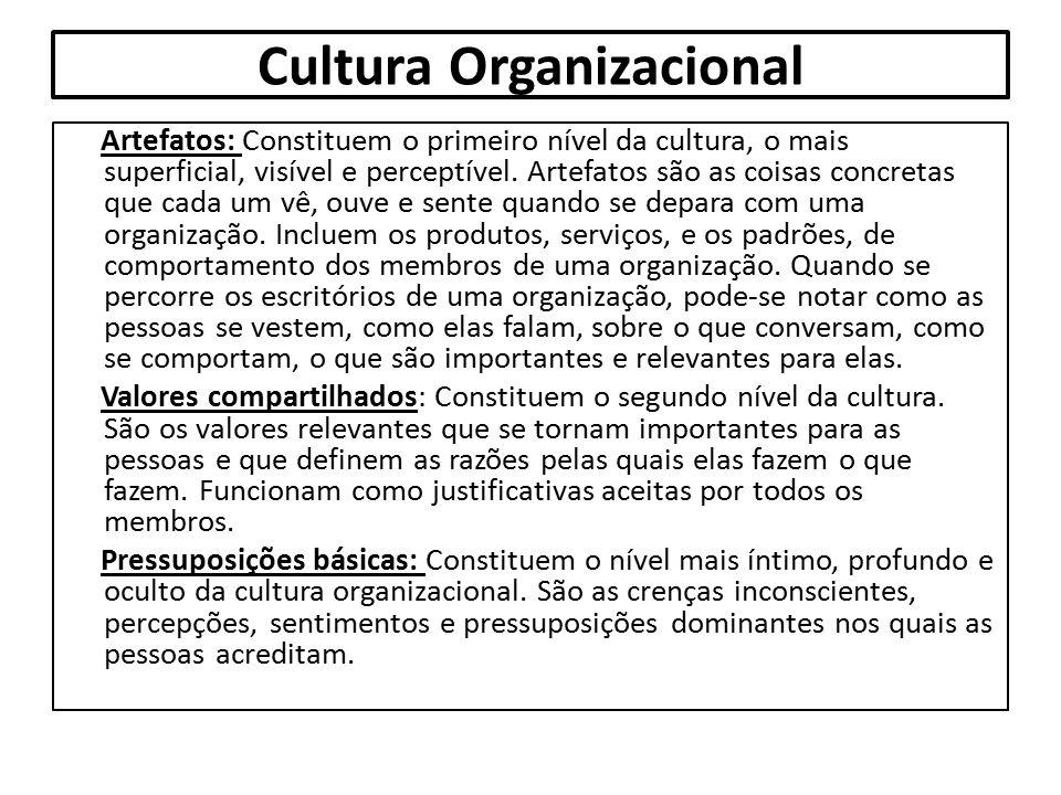 Cultura Organizacional Artefatos: Constituem o primeiro nível da cultura, o mais superficial, visível e perceptível. Artefatos são as coisas concretas