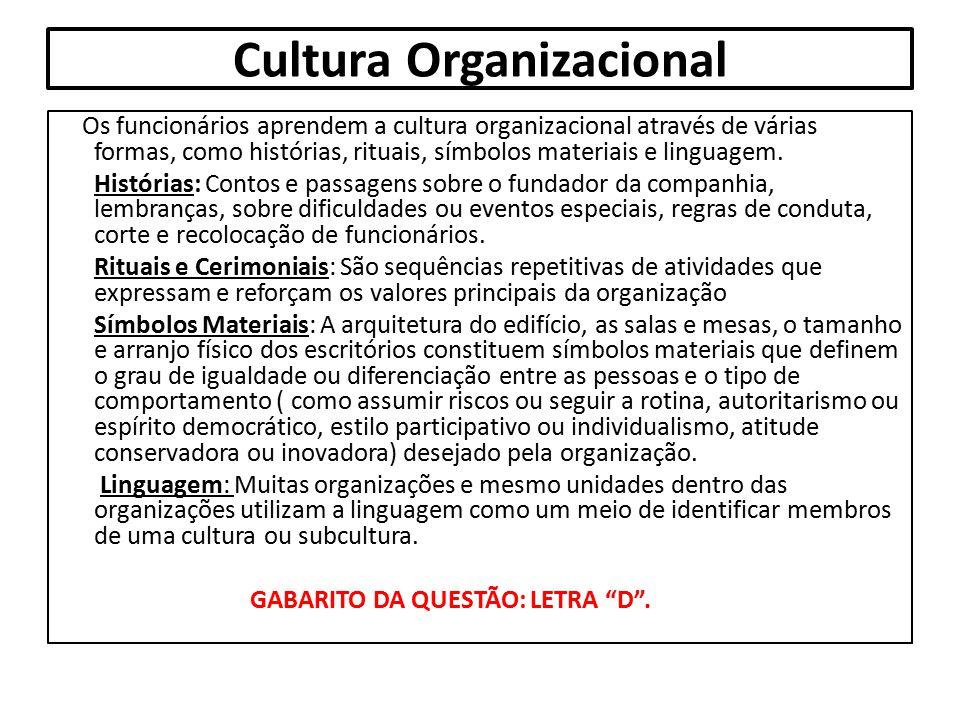 Cultura Organizacional Os funcionários aprendem a cultura organizacional através de várias formas, como histórias, rituais, símbolos materiais e lingu