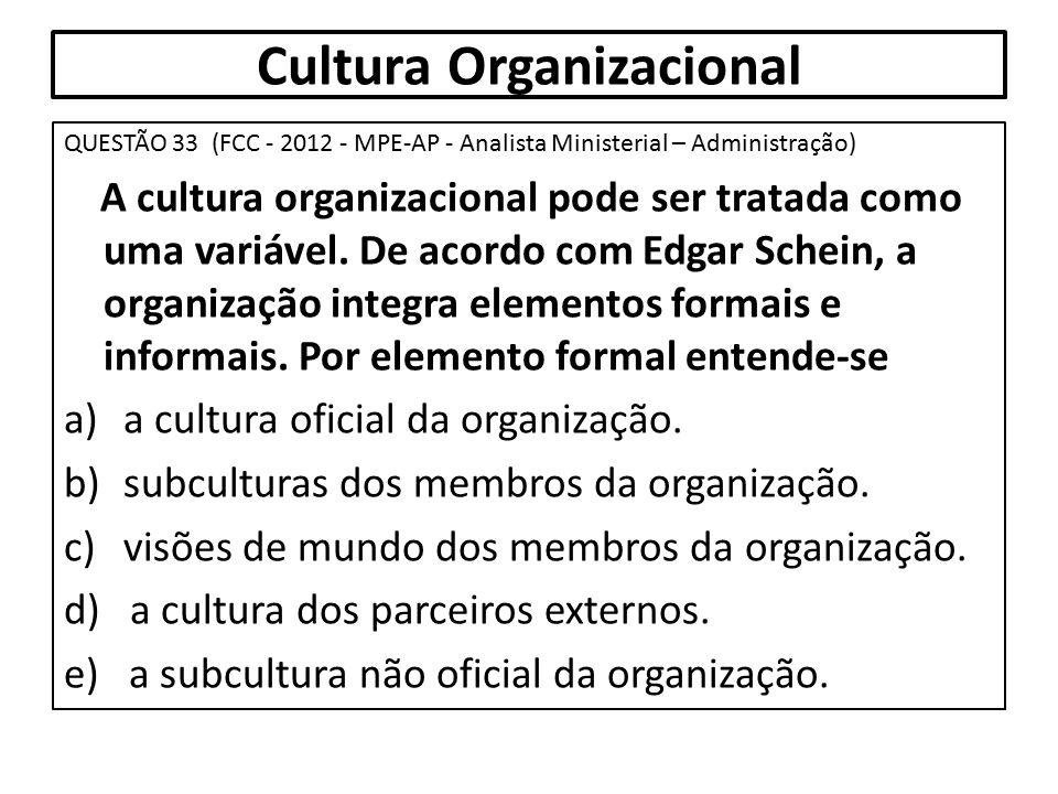 Cultura Organizacional QUESTÃO 33 (FCC - 2012 - MPE-AP - Analista Ministerial – Administração) A cultura organizacional pode ser tratada como uma vari