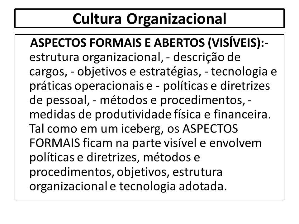 Cultura Organizacional ASPECTOS FORMAIS E ABERTOS (VISÍVEIS):- estrutura organizacional, - descrição de cargos, - objetivos e estratégias, - tecnologi