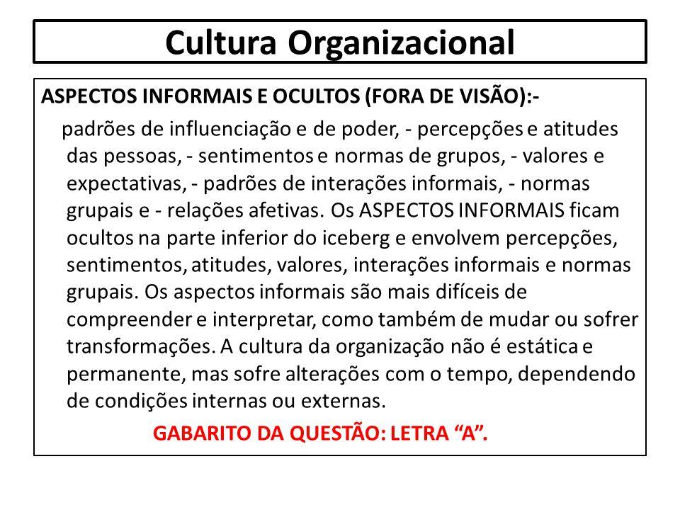 Cultura Organizacional ASPECTOS INFORMAIS E OCULTOS (FORA DE VISÃO):- padrões de influenciação e de poder, - percepções e atitudes das pessoas, - sent