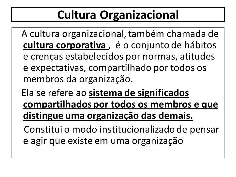Cultura Organizacional A cultura organizacional, também chamada de cultura corporativa, é o conjunto de hábitos e crenças estabelecidos por normas, at