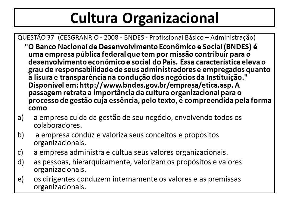 Cultura Organizacional QUESTÃO 37 (CESGRANRIO - 2008 - BNDES - Profissional Básico – Administração)