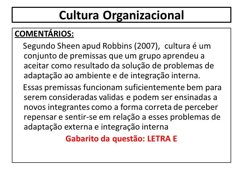 Cultura Organizacional COMENTÁRIOS: Segundo Sheen apud Robbins (2007), cultura é um conjunto de premissas que um grupo aprendeu a aceitar como resulta