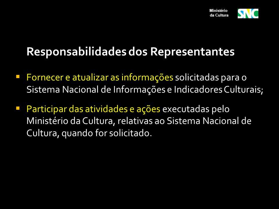 Responsabilidades dos Representantes  Fornecer e atualizar as informações solicitadas para o Sistema Nacional de Informações e Indicadores Culturais;