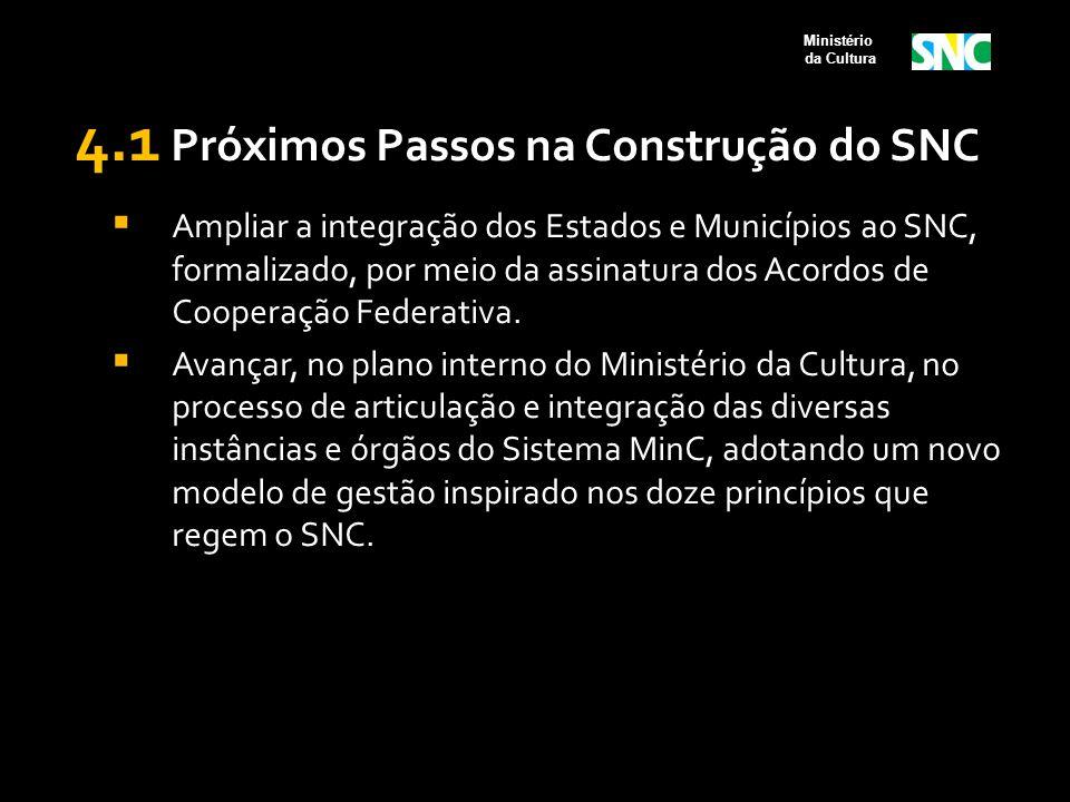 4.1 Próximos Passos na Construção do SNC  Ampliar a integração dos Estados e Municípios ao SNC, formalizado, por meio da assinatura dos Acordos de Co