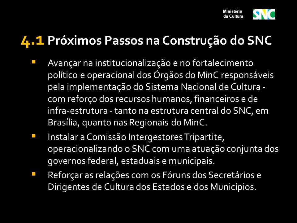 4.1 Próximos Passos na Construção do SNC  Avançar na institucionalização e no fortalecimento político e operacional dos Órgãos do MinC responsáveis p
