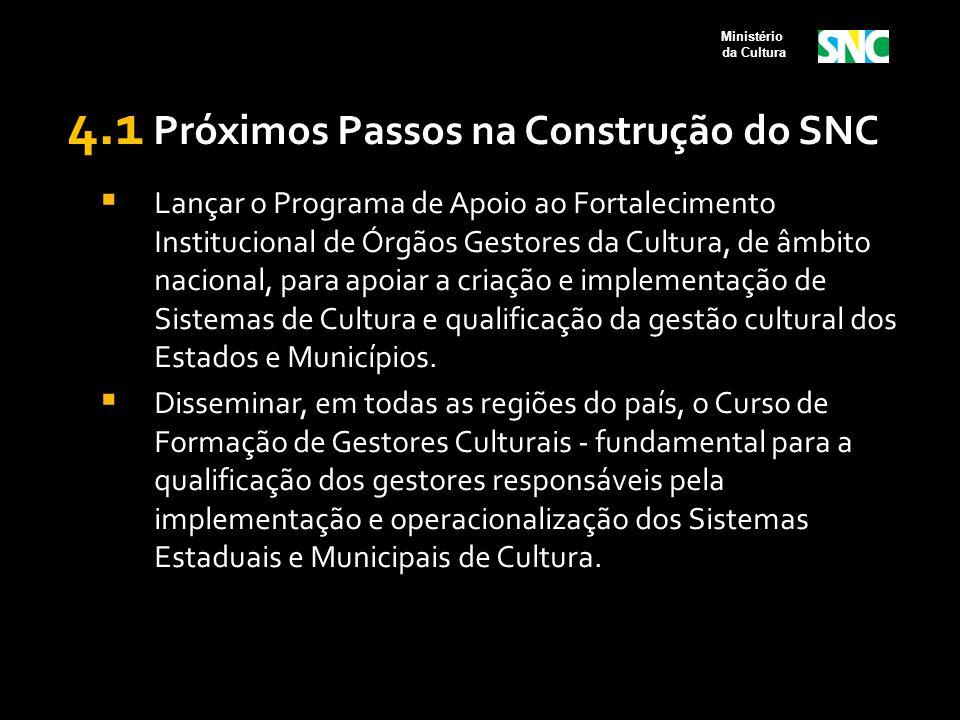 4.1 Próximos Passos na Construção do SNC  Lançar o Programa de Apoio ao Fortalecimento Institucional de Órgãos Gestores da Cultura, de âmbito naciona
