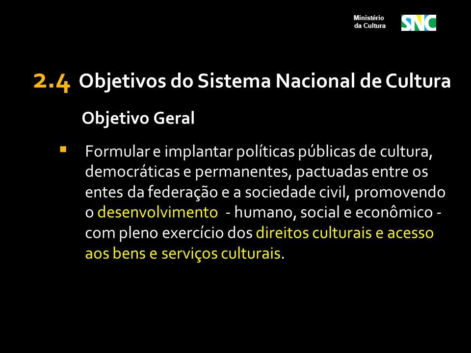 2.4 Objetivos do Sistema Nacional de Cultura Objetivo Geral  Formular e implantar políticas públicas de cultura, democráticas e permanentes, pactuada