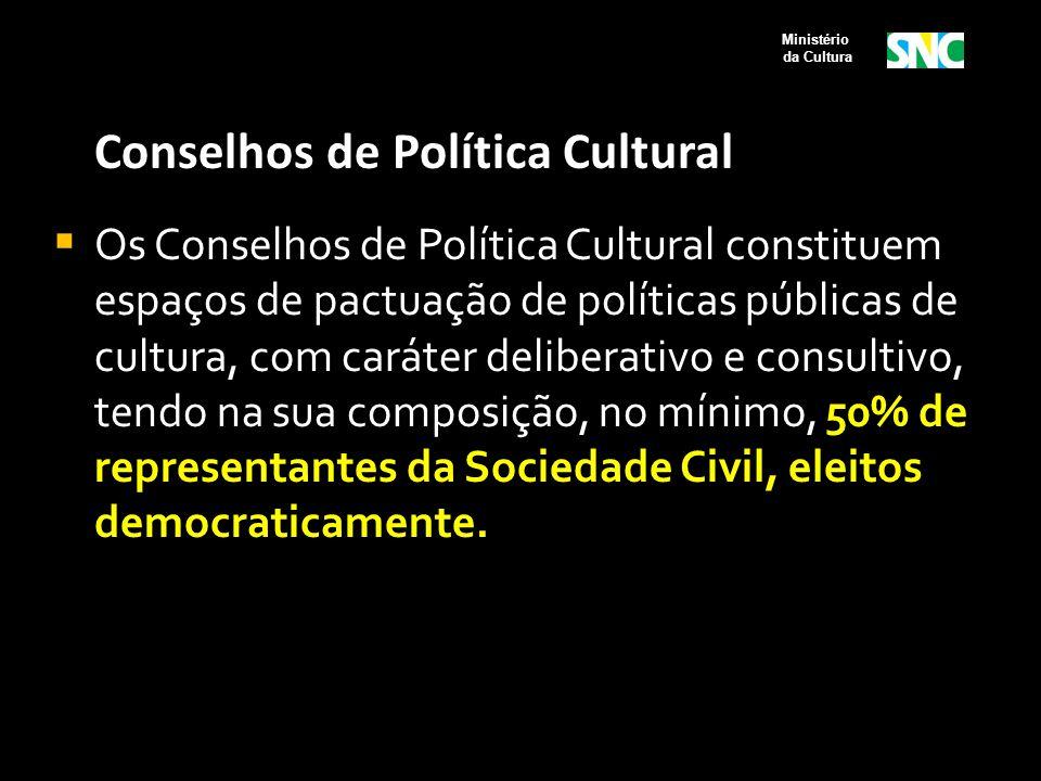 Conselhos de Política Cultural  Os Conselhos de Política Cultural constituem espaços de pactuação de políticas públicas de cultura, com caráter delib
