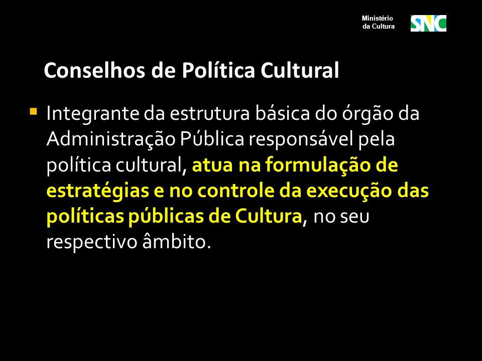 Conselhos de Política Cultural  Integrante da estrutura básica do órgão da Administração Pública responsável pela política cultural, atua na formulaç
