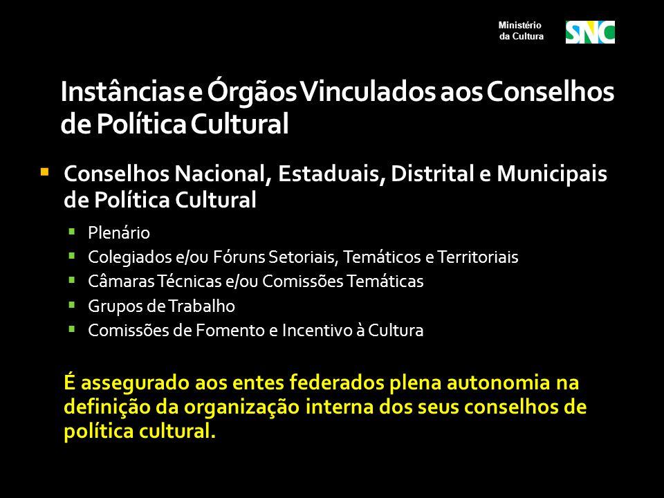 Instâncias e Órgãos Vinculados aos Conselhos de Política Cultural  Conselhos Nacional, Estaduais, Distrital e Municipais de Política Cultural  Plená