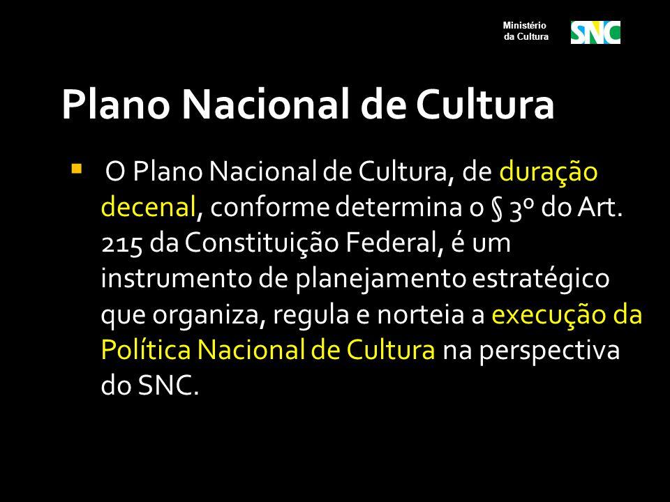 Plano Nacional de Cultura  O Plano Nacional de Cultura, de duração decenal, conforme determina o § 3º do Art. 215 da Constituição Federal, é um instr