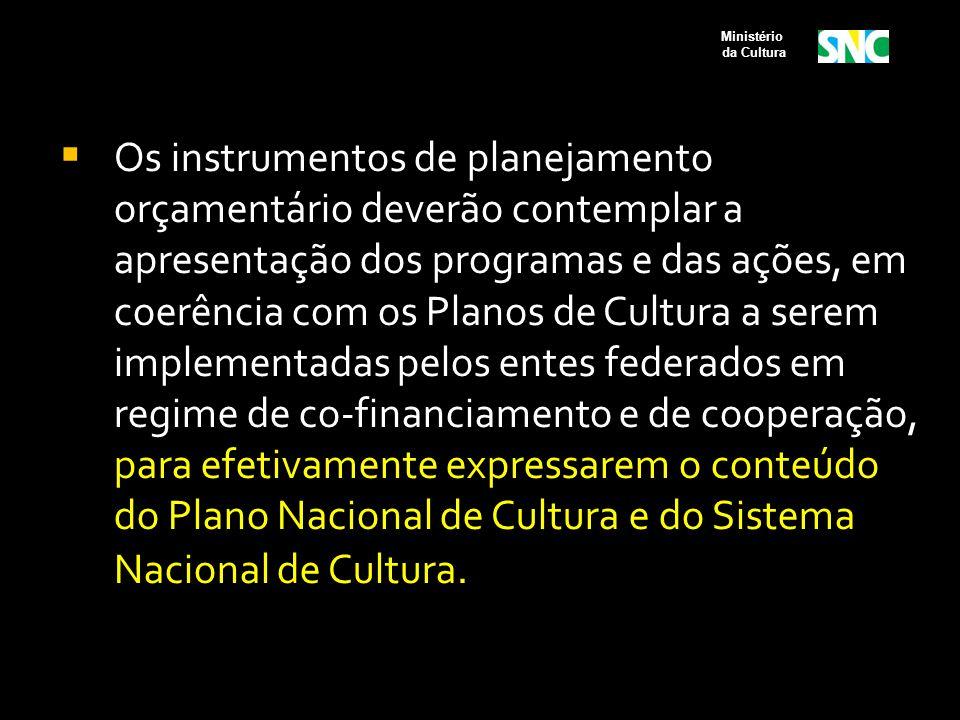  Os instrumentos de planejamento orçamentário deverão contemplar a apresentação dos programas e das ações, em coerência com os Planos de Cultura a se