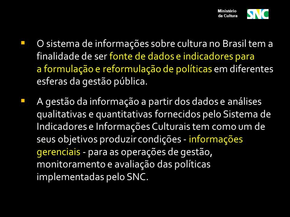  O sistema de informações sobre cultura no Brasil tem a finalidade de ser fonte de dados e indicadores para a formulação e reformulação de políticas