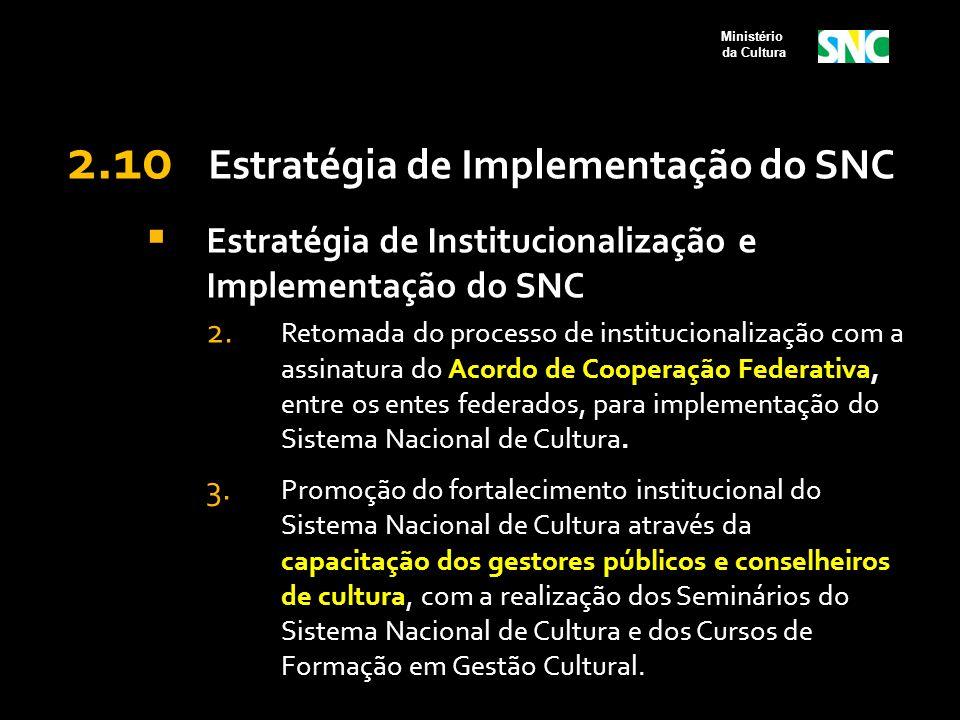 2.10 Estratégia de Implementação do SNC  Estratégia de Institucionalização e Implementação do SNC 2. Retomada do processo de institucionalização com