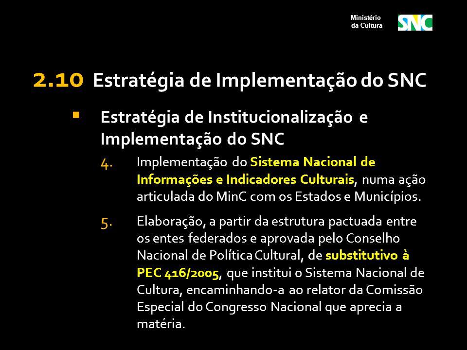 2.10 Estratégia de Implementação do SNC  Estratégia de Institucionalização e Implementação do SNC 4. Implementação do Sistema Nacional de Informações