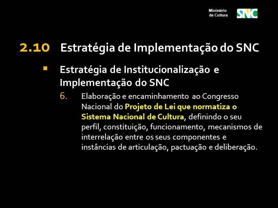 2.10 Estratégia de Implementação do SNC  Estratégia de Institucionalização e Implementação do SNC 6. Elaboração e encaminhamento ao Congresso Naciona