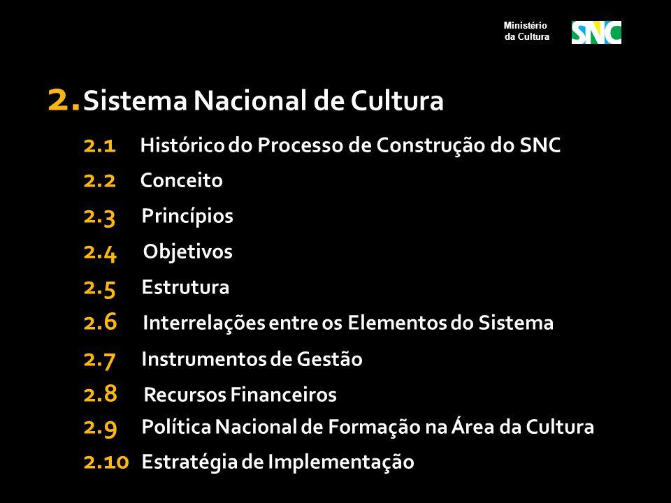2.1 Processo de Construção do SNC 2003 a 2006  Apresentação no Congresso Nacional da PEC nº 150/2003, que vincula a receita orçamentária da União, Estados e Municípios ao desenvolvimento cultural (2003);  Criação das Câmaras Setoriais de Música, Teatro, Dança, Artes Visuais, Circo e Livro e Leitura (a partir de 2004);  Apresentação no Congresso Nacional da PEC nº 416/2005, que institui o Sistema Nacional de Cultura (2005);  Realização das Conferências Municipais, Estaduais e da I Conferência Nacional de Cultura, que definiu como uma das prioridades a implementação do Sistema Nacional de Cultura (2005); Ministério da Cultura