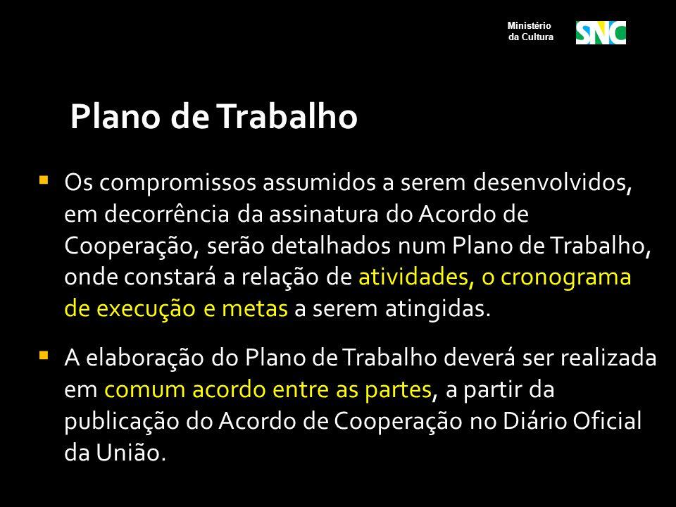 Plano de Trabalho  Os compromissos assumidos a serem desenvolvidos, em decorrência da assinatura do Acordo de Cooperação, serão detalhados num Plano