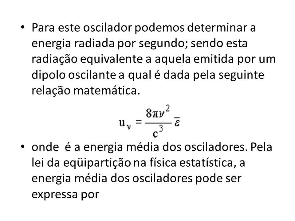 Para este oscilador podemos determinar a energia radiada por segundo; sendo esta radiação equivalente a aquela emitida por um dipolo oscilante a qual
