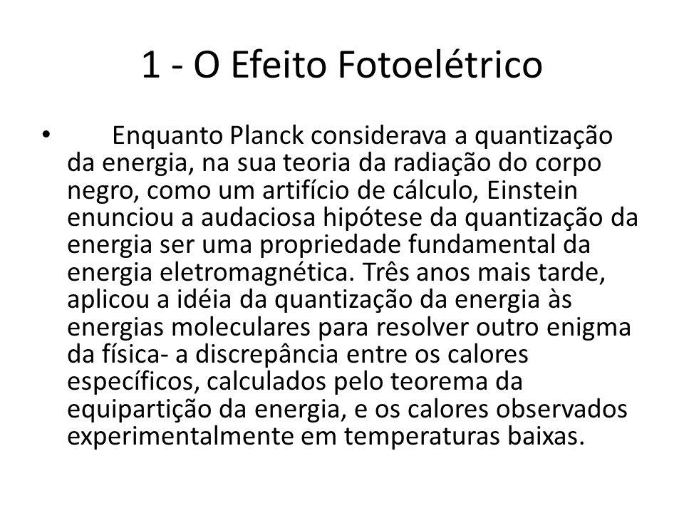 1 - O Efeito Fotoelétrico Enquanto Planck considerava a quantização da energia, na sua teoria da radiação do corpo negro, como um artifício de cálculo