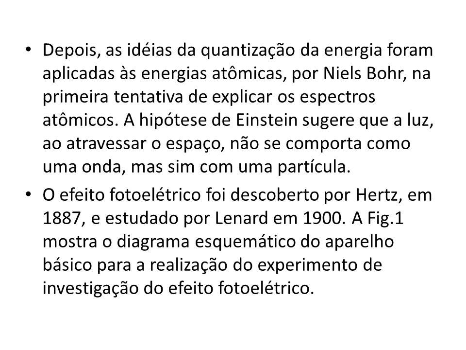 Depois, as idéias da quantização da energia foram aplicadas às energias atômicas, por Niels Bohr, na primeira tentativa de explicar os espectros atômi