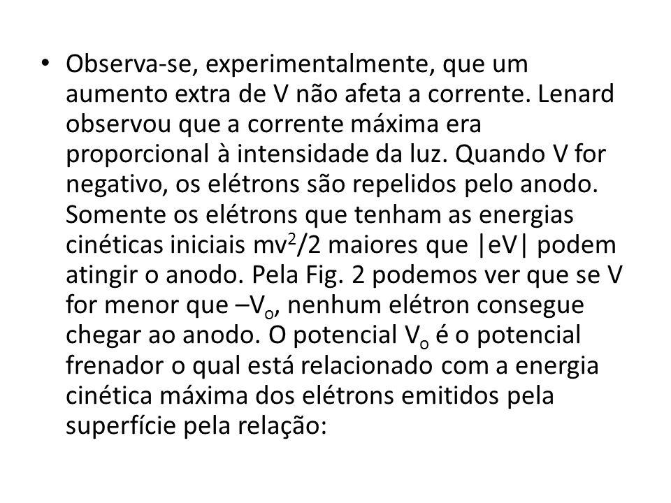 Observa-se, experimentalmente, que um aumento extra de V não afeta a corrente. Lenard observou que a corrente máxima era proporcional à intensidade da