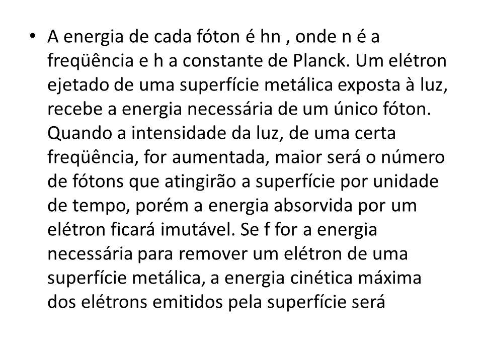A energia de cada fóton é hn, onde n é a freqüência e h a constante de Planck. Um elétron ejetado de uma superfície metálica exposta à luz, recebe a e