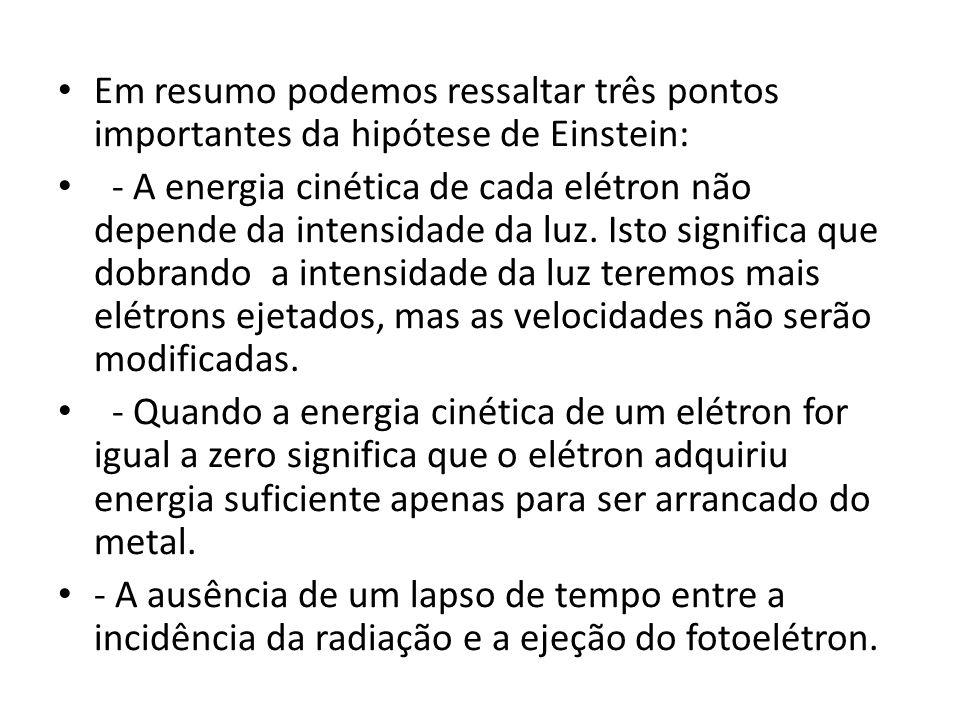 Em resumo podemos ressaltar três pontos importantes da hipótese de Einstein: - A energia cinética de cada elétron não depende da intensidade da luz. I