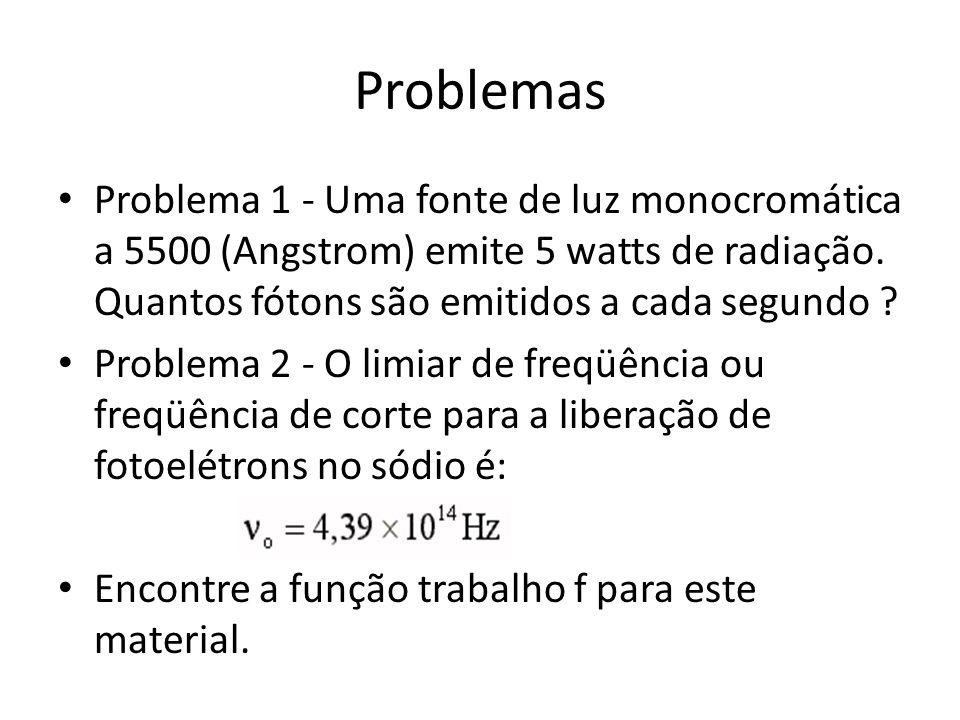 Problemas Problema 1 - Uma fonte de luz monocromática a 5500 (Angstrom) emite 5 watts de radiação. Quantos fótons são emitidos a cada segundo ? Proble