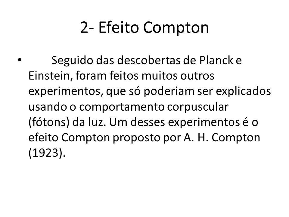 2- Efeito Compton Seguido das descobertas de Planck e Einstein, foram feitos muitos outros experimentos, que só poderiam ser explicados usando o compo