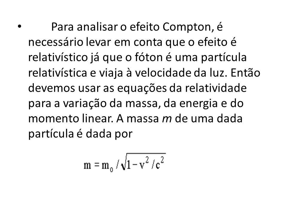 Para analisar o efeito Compton, é necessário levar em conta que o efeito é relativístico já que o fóton é uma partícula relativística e viaja à veloci