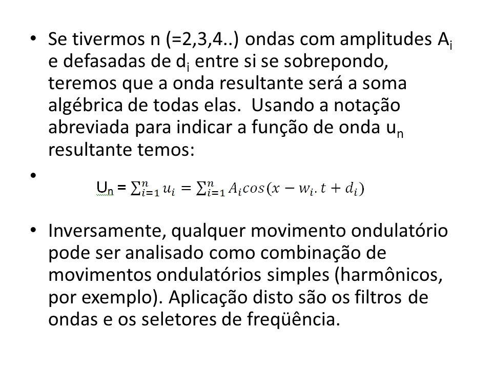 Se tivermos n (=2,3,4..) ondas com amplitudes A i e defasadas de d i entre si se sobrepondo, teremos que a onda resultante será a soma algébrica de to