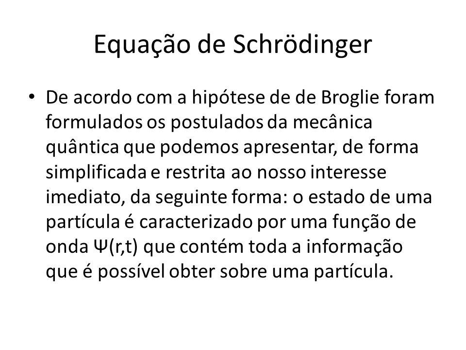 Equação de Schrödinger De acordo com a hipótese de de Broglie foram formulados os postulados da mecânica quântica que podemos apresentar, de forma sim