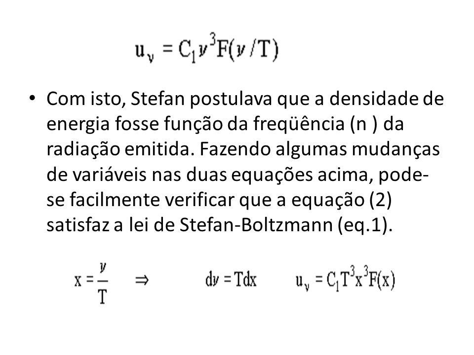Com isto, Stefan postulava que a densidade de energia fosse função da freqüência (n ) da radiação emitida. Fazendo algumas mudanças de variáveis nas d