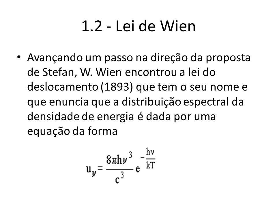 1.2 - Lei de Wien Avançando um passo na direção da proposta de Stefan, W. Wien encontrou a lei do deslocamento (1893) que tem o seu nome e que enuncia