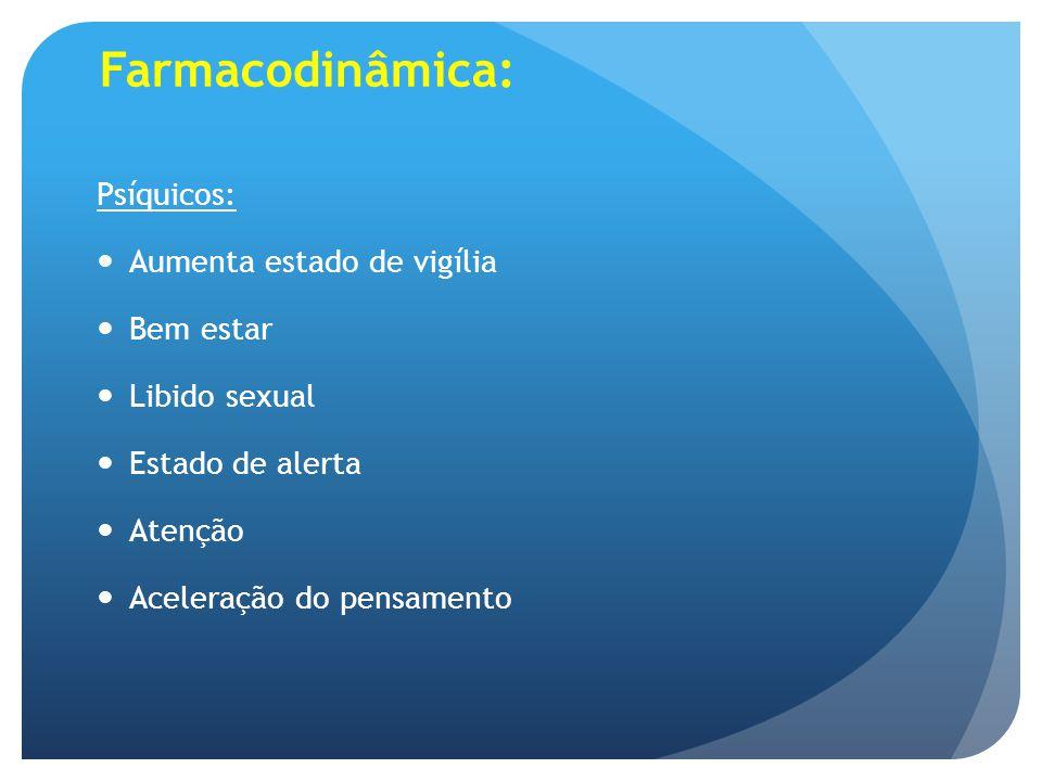 Farmacodinâmica: Psíquicos: Aumenta estado de vigília Bem estar Libido sexual Estado de alerta Atenção Aceleração do pensamento