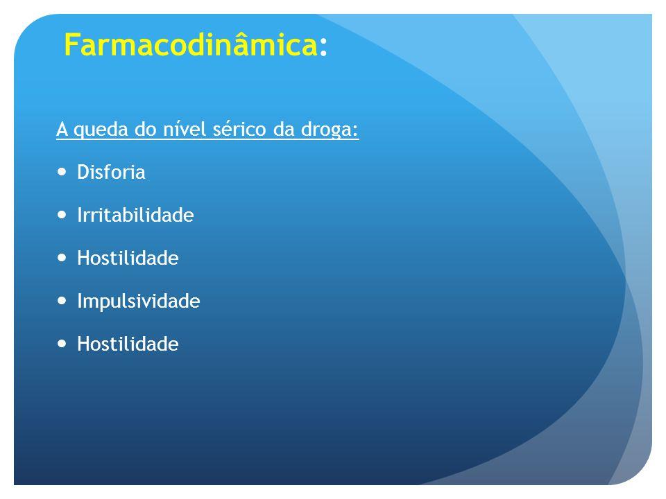 Farmacodinâmica: A queda do nível sérico da droga: Disforia Irritabilidade Hostilidade Impulsividade Hostilidade