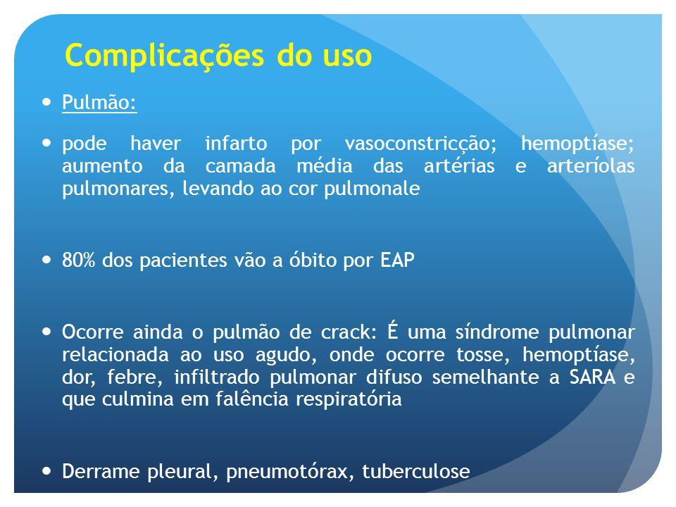 Complicações do uso Pulmão: pode haver infarto por vasoconstricção; hemoptíase; aumento da camada média das artérias e arteríolas pulmonares, levando