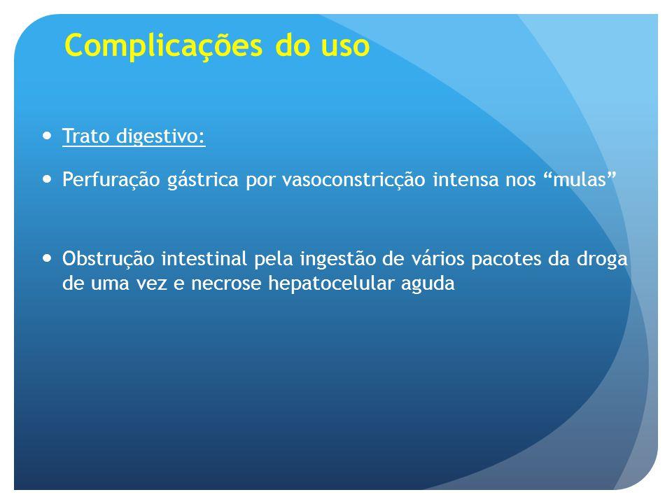 """Complicações do uso Trato digestivo: Perfuração gástrica por vasoconstricção intensa nos """"mulas"""" Obstrução intestinal pela ingestão de vários pacotes"""