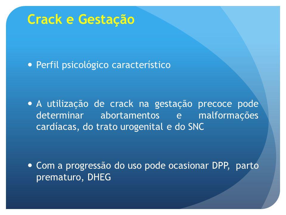 Crack e Gestação Perfil psicológico característico A utilização de crack na gestação precoce pode determinar abortamentos e malformações cardíacas, do