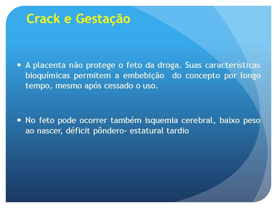 Crack e Gestação A placenta não protege o feto da droga. Suas características bioquímicas permitem a embebição do concepto por longo tempo, mesmo após
