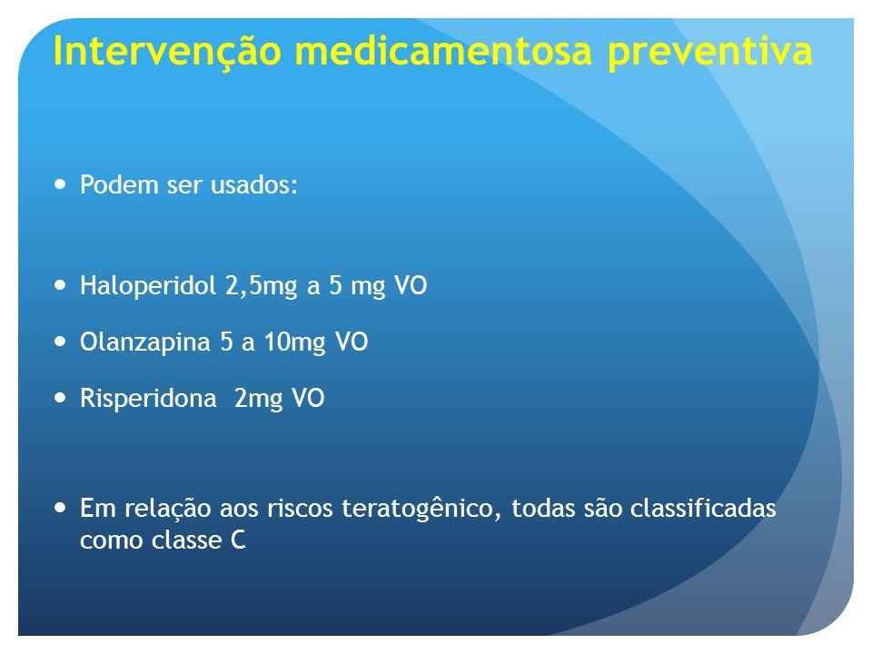 Intervenção medicamentosa preventiva Podem ser usados: Haloperidol 2,5mg a 5 mg VO Olanzapina 5 a 10mg VO Risperidona 2mg VO Em relação aos riscos ter